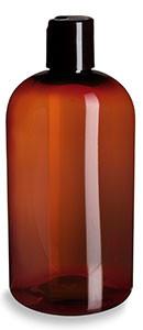 16 oz Amber PET Boston Round Plastic Bottle with Black Disc Cap - PXA16DB