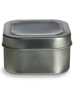 4 oz Square Deep Container Tin with Clear Top Cover - TCSS4