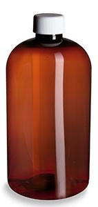 16 oz Amber PET Boston Round Plastic Bottle with White Cap - PXA16W