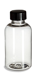 2 oz Clear PET Boston Round Plastic Bottle with Black Cap - PXC2B
