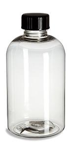 4 oz Clear PET Boston Round Plastic Bottle with Black Cap - PXC4B