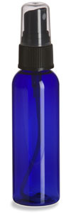 2 oz Blue PET Cosmo Plastic Bottle with Black Atomizer - PBR2AB