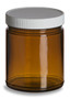 9 oz Amber Straight Sided Glass Jar with White Lid - SS9AW