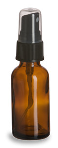 1 oz Amber Boston Round Glass Bottle with Black Atomizer - BRA1AB