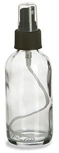 4 oz Clear Boston Round Glass Bottle with Black Atomizer - BRF4AB
