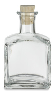 7 oz (210 ml) Square Glass Bottle with Cork - CKSQ250