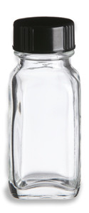 1 oz Clear French Square Glass Bottle with Black Cap - FSQ1
