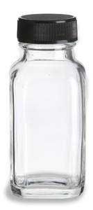 2 oz Clear French Square Glass Bottle with Black Cap - FSQ2