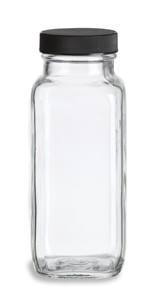 8 oz Clear French Square Glass Bottle with Black Cap - FSQ8