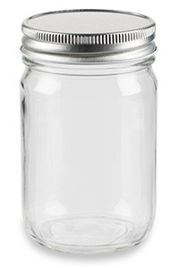 12 oz Eco Mason Glass Jar with Silver Lid - ECO12S