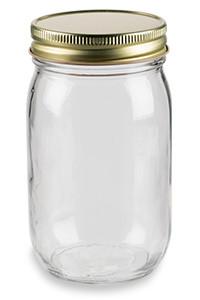16 oz Eco Mason Glass Jar with Gold Lid - ECO16G