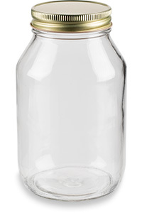 32 oz Eco Mason Glass Jar with Gold Lid - ECO32G