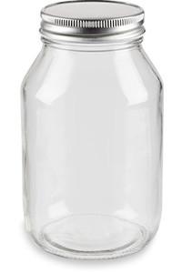 32 oz Eco Mason Glass Jar with Silver Lid - ECO32S