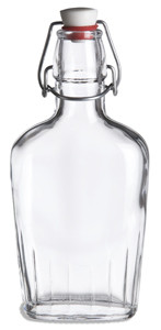 8.5 oz (250 ml) Flask Clear Glass Bottle with  Swing Top - FLSK8ST