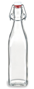 17 oz Clear Square Glass Bottle with Swing Top - SQR17ST