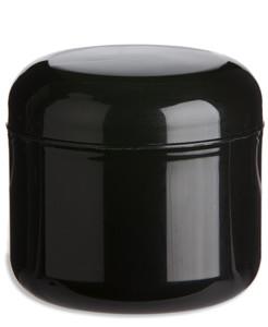 4 oz Double Wall Black Plastic Jar with Dome Lid - DOUB4