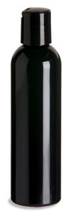 4 oz Black PET Cosmo Plastic Bottle with Black Disc Cap - PKR4DB