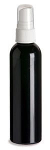 4 oz Black PET Cosmo Plastic Bottle with White Atomizer - PKR4AW