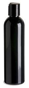 8 oz Black PET Cosmo Plastic Bottle with Black Disc Cap - PKR8DB