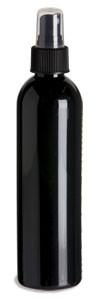 8 oz Black PET Cosmo Plastic Bottle with Black Atomizer - PKR8AB