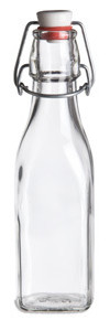 8.5 oz Clear Square Glass Bottle with Swing Top - SQR8ST
