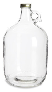 1 Gallon (128 oz) Clear Glass Jug with Gold Metal Lid - JUG1G