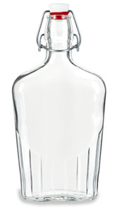 17 oz (500 ml) Flask Clear Glass Bottle with Swing Top - FLSK17ST