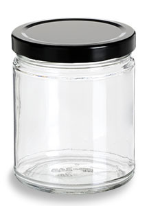 Straight Sided Glass Jar With Black Lid 9 Oz Specialty
