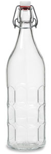 1 Liter (34 oz) Clear Moresca Glass Bottle with Swing Top - MOR34ST