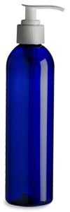 8 oz Blue PET Cosmo Plastic Bottle with White Pump - PBR8PW