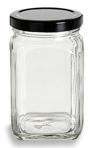 Victorian Square Glass Jar With Black Lid 10 Oz