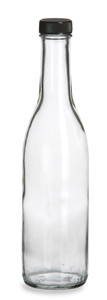 12.5 oz (375 ml) Woozy Round Glass Bottle with Black Cap - WZ12