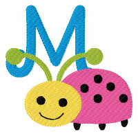 Ladybug Smiley Monogram Set