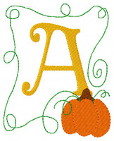 Pumpkin Vine 5x7 Fall Monogram Set