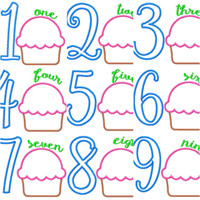 Cupcake Applique Birthday Numbers 1-9 Machine Embroidery Applique 5x7 Monogram Design Set