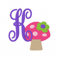 Mushroom with Flower Monogram Embroidery Font Set