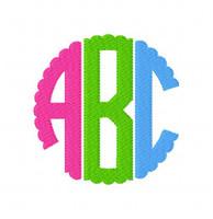 Three Letter Circle Scallop Monogram Set