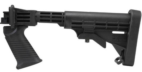 Tapco Intrafuse Saiga T6 Stock Assembly (Black)  Our INTRAFUSE® Saiga T6™ Stock Set was designed for easy installation on your non-converted* Saiga. Simply pop off the standard buttstock assembly and replace it with our stock system. This system includes our popular T6™ 6 position adjustable buttstock, a SAW Style Pistol Grip that installs directly into the stock adaptor, an INTRAFUSE® T6™ Rubber Buttpad, and all mounting hardware. Giving you increased ergonomics and firearm control, the INTRAFUSE® Saiga T6™ Stock Set puts you in a position to get the most out of your Saiga series rifle or shotgun. Counts as 2 U.S. 922r Compliant Parts.  *For converted Saigas, the standard AK-47 stock and pistol grip are recommended. This stock set is for non-converted Saigas only. Not recommended for .308 Saiga rifles due to the angle of the trigger.