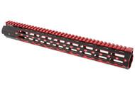 UTG PRO MODEL 4/15 SUPER SLIM FREE FLOAT RAIL SYSTEM (M-LOK, BLACK/RED, 15'')
