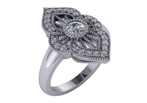 14K White Gold Filigree Antique Styled  Round Cut Diamond Fashion Ring