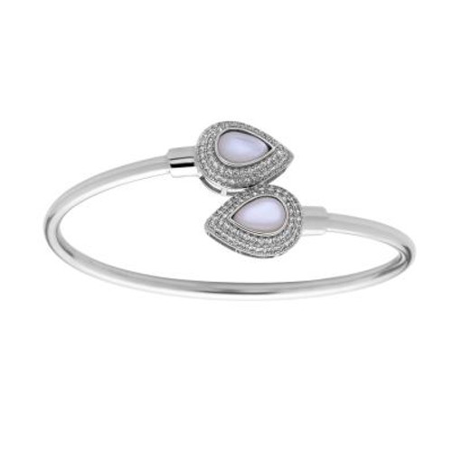 Sterling Silver Mother of Pearl Teardrop Bangle