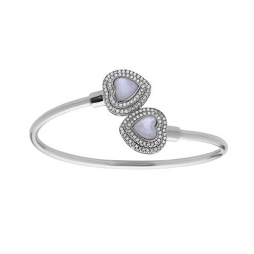Sterling Silver MOP Heart Bangle