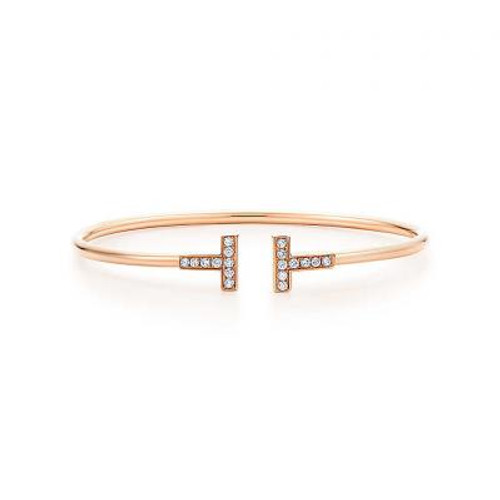 Rose GP Micro Pave CZ T Bangle