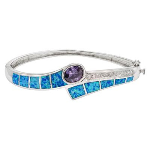 Blue Inlay Opal Bangle