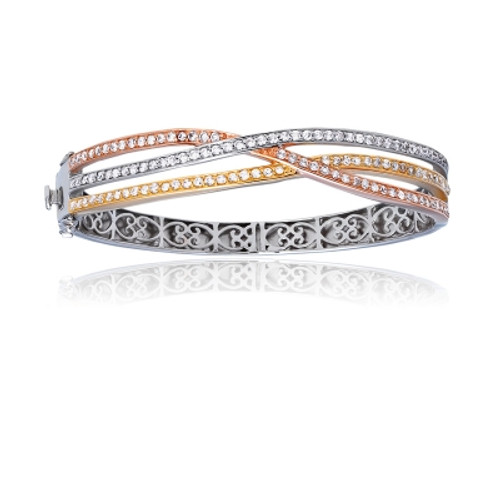 Sterling Silver Tri-Color Interlocking Bangle with CZ