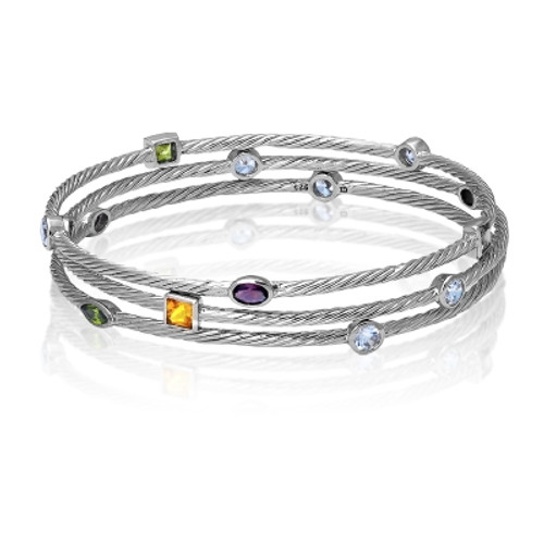 Sterling Silver Triple Strand Multi-Colored, Multi-Shaped CZ's Bangle