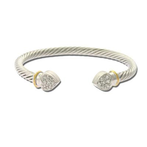 Sterling Silver Cable Bangle with Gold Plated Rope Design & Clear CZ Encrusted Heart Ends