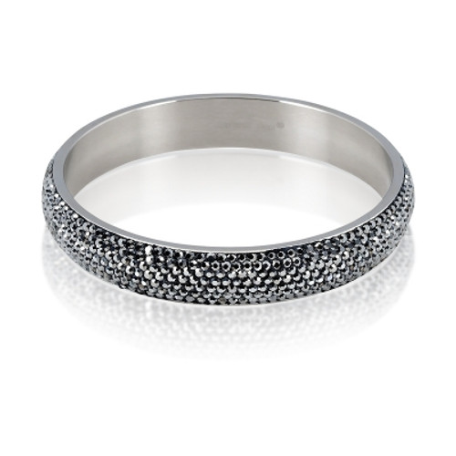 Stainless Steel Gray Crystal 12mm Bangle