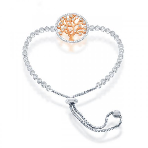 Sterling Silver Adjustable Rose Gold Plated and Cubic Zirconia Tree of Life  BOLO Bracelet