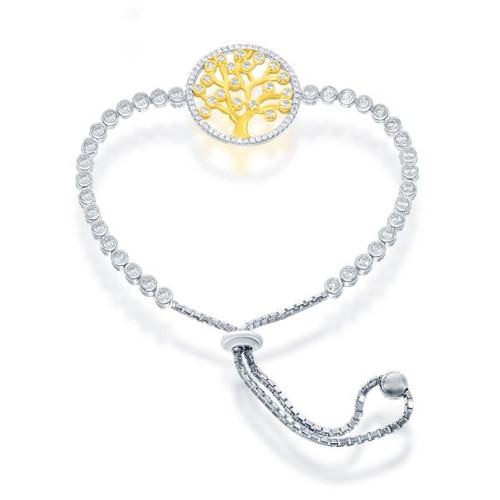 Sterling Silver Gold Plated Adjustable Round Cubic Zirconia Tree of Life BOLO Bracelet